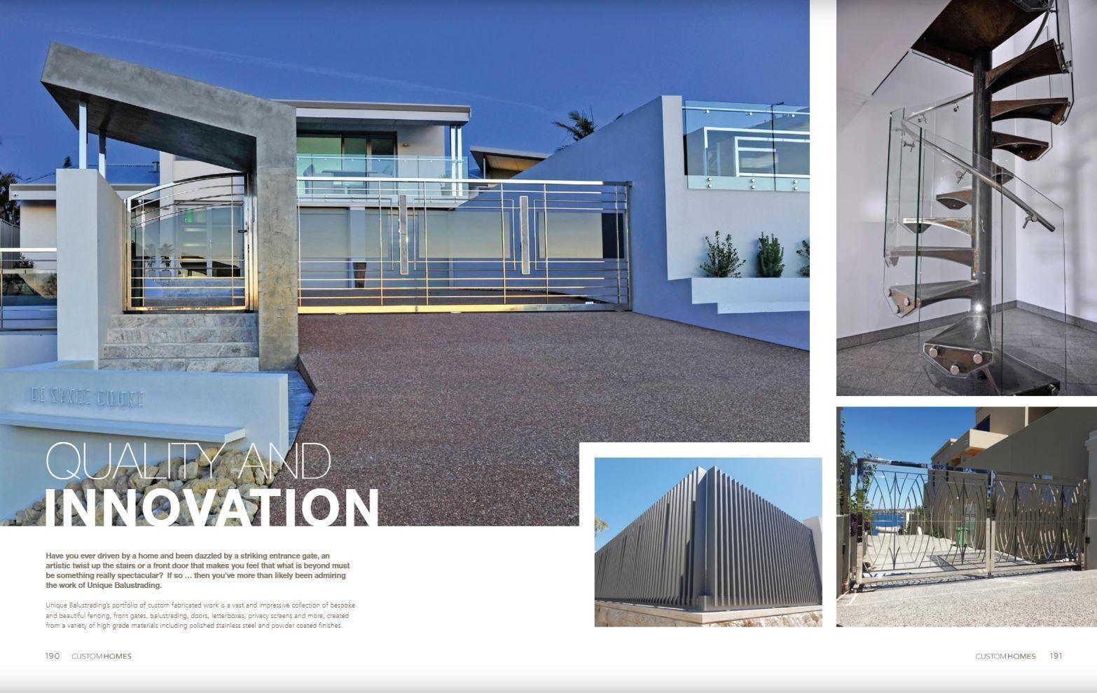 Unique Balustrading Featured in 2019 Custom Homes Magazine